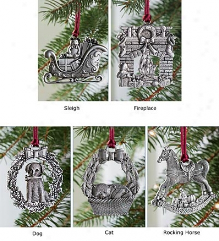 Solid Pewter Classic Ornaments, Determined Of 5