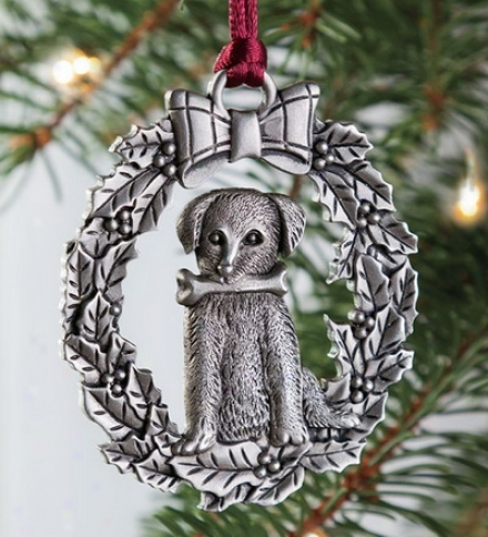 Solid Pewter Dog Ornament