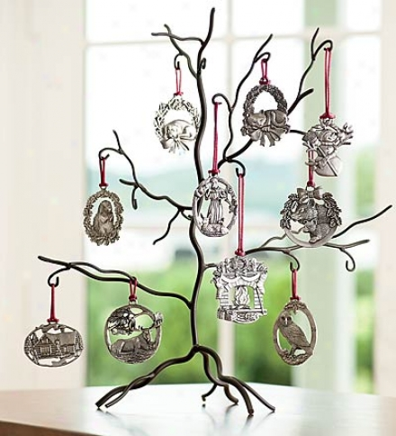 Solid Pewter Ornament Set With Tree