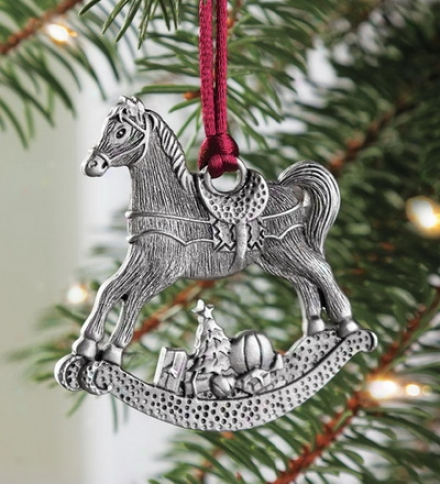 Solid Pewter Rocking Horse Ornament