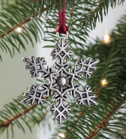 Solid Pewter Snowflake Ornament