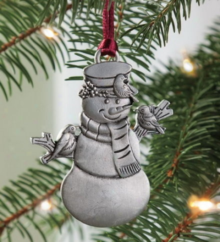 Solid Pewter Snowman Ornament