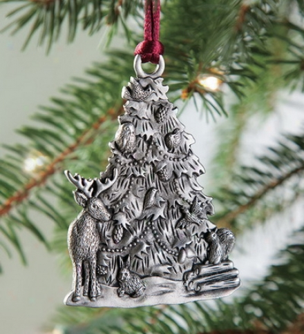 Solid Pewter Woodland Tree Ornament