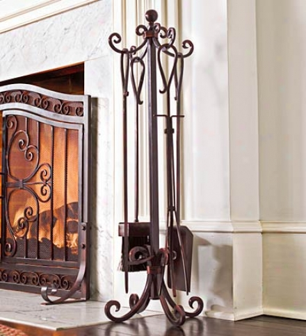 Hard Steel Fireplace Crest Tool Set With Wrought Iron Hearth Stand