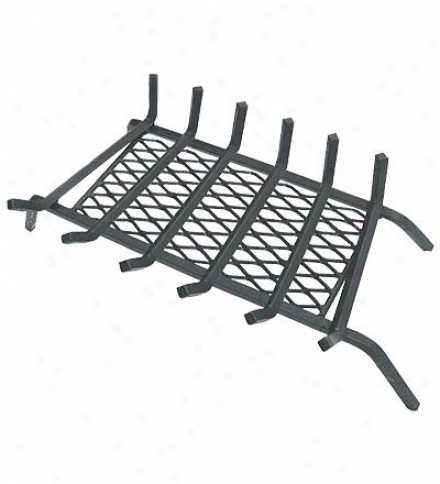 Solid Steel Fireplace Grate With Steel Mesh Ember Container