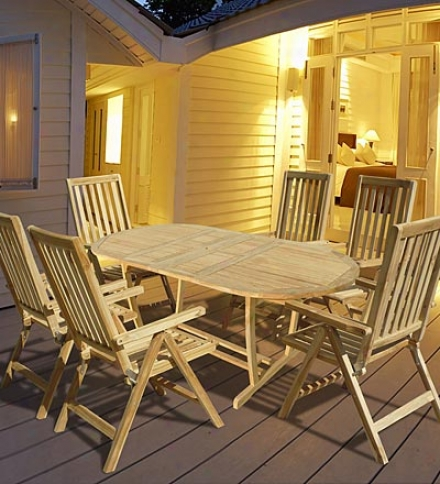 S0ldi Teak 7-piece Outdoor Oval Table And Folding Chairs Set