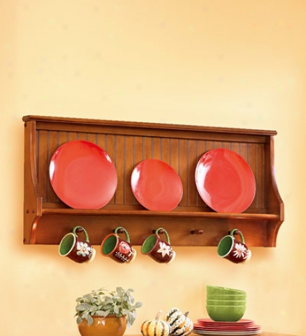 Real Wood Harvest Plate And Cup Display Rack