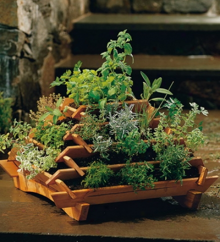 Space-saving Cedar Pyramid Planter