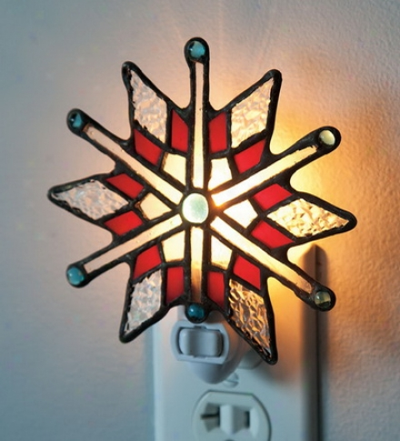 Stained Glass Holiday Snowflake Nithtlightbuy 2 Or More At $14.95 Each