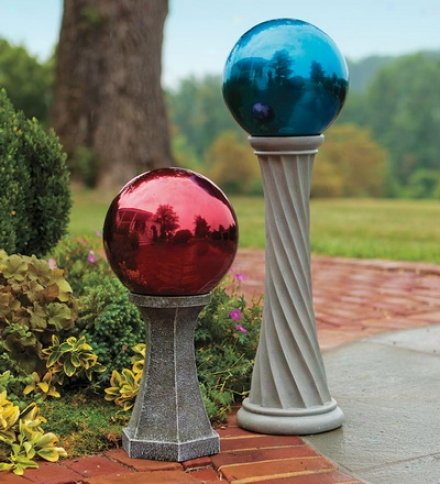 Stainless Case-harden Gazing Ball With Column Stand