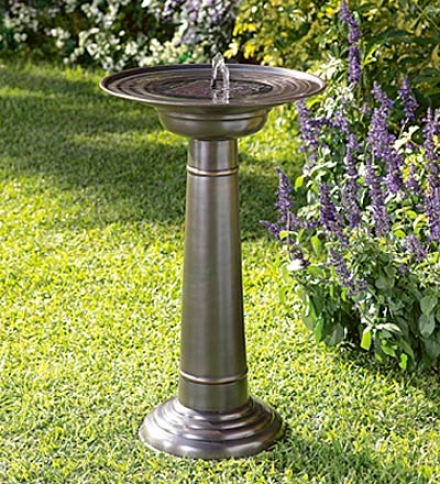"Stainless Steel Solar-powered Fountain Birdbath With Small change Finish17-3/4"" Dia. X 30""h"