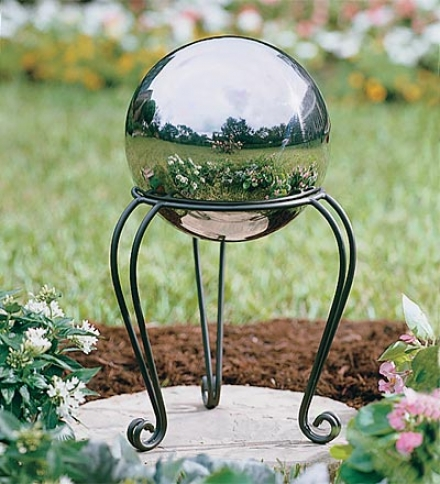 Stainless Steel Weather-resistant Gazing Ball With Iron Scroll Standsave $11.95 On The Set!