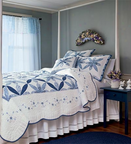 Standard White And Cornflower Blue Patchwork Sham