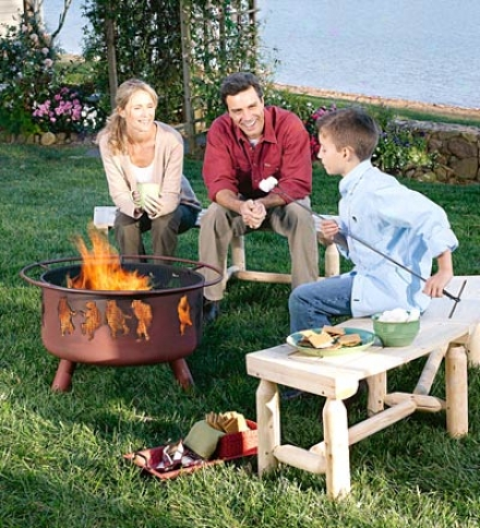 Steel Dancing Bears Outdoor Fire Pit iWth Cooking Grill