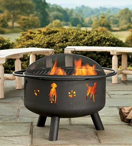 Steel Pups And Paws Fire Pit With Domed Lid