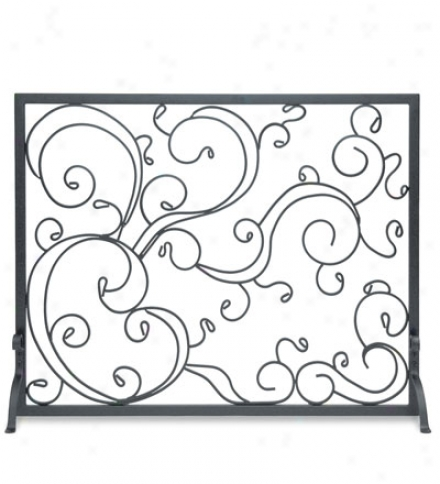 Steel Single Panel Forged Scroll Summer Fireplace Screen