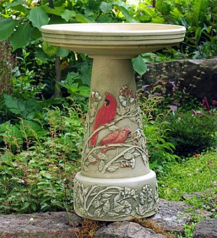 Summer Cardinal Birdbath, 2-piece Set