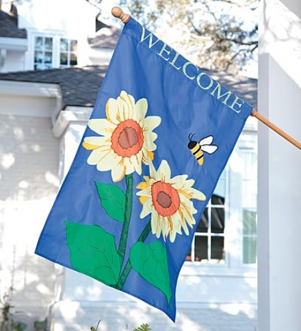 Sunflower And Bee Welcome House Flag