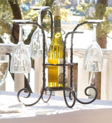 Tabletop Steel Wine Bottle And Glass Holder