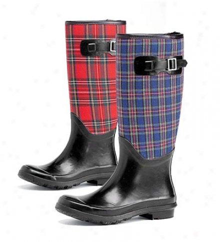 Tall Plaid Waterproof Rubber Garden Boots With Buckle Individual part