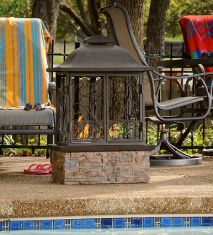 Taos Indoor/outdoor Fireplace With Decorative Scrollwork