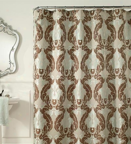 Teal & Cocoa Jacquard Luxury Shower Curtain
