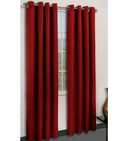 Tempo Scarlet Polyester Swirl Pattern Grommet Top Curtain Pair