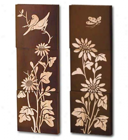Three Panel Hand-carved Wooden Wall Décor