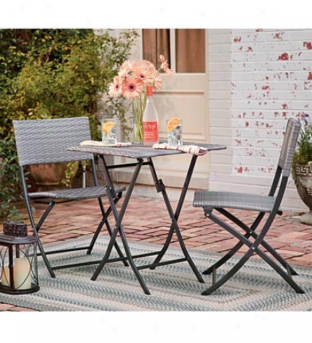 Three-piece Folding Resin Wicker Bistro Concrete