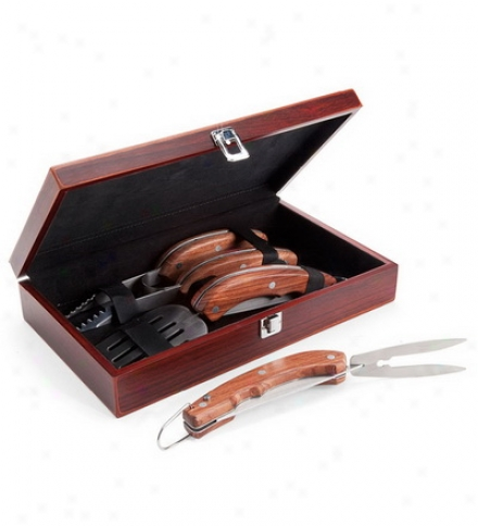 Three-piece Stainless Steel And Wood Grill Utensil Set With Wooden Box