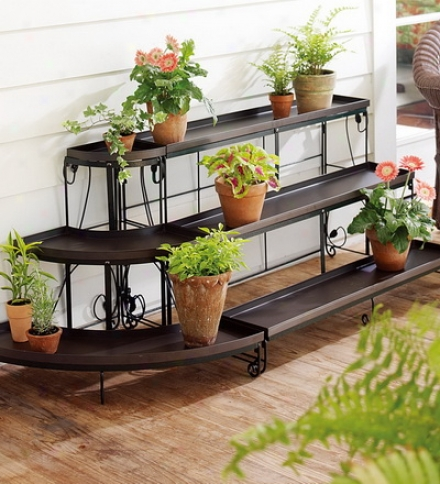 Three-tier Embeplished Steel Plant Stand Setsave $19.90 On The Stake!