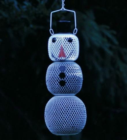 Three-tier Metal Solar Snowman No-no Bird Feeder
