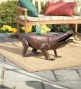 Hand-hammered Iron Alligator Bench With Antique Copper Finish