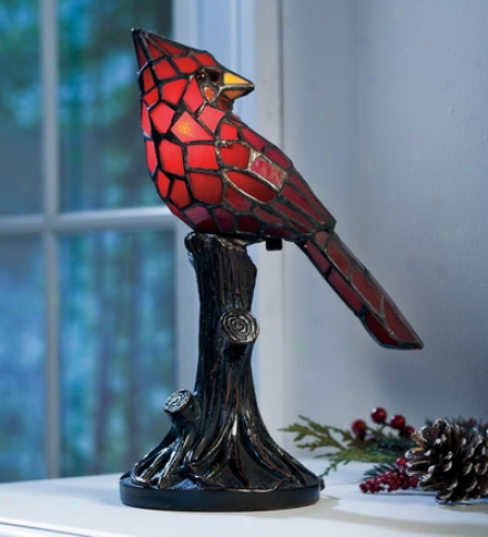 Tiffany-style Stained Glass Cardinal Stress  Lamp