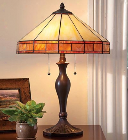 Tiffany-stule Stained Glass Mission Style Table Lamp