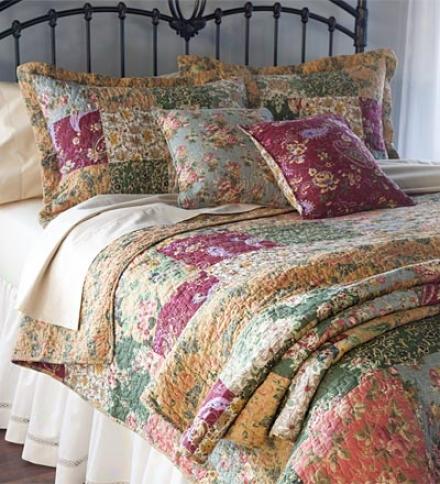 Twon 100% Cotton Paisley Patchwork Block Quilt Bonus Set