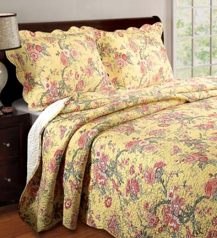 Twin Golden Butterfly 100% Cotton Quilt Set