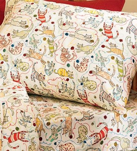 Twin Playful Cat Flannel Sheet Set