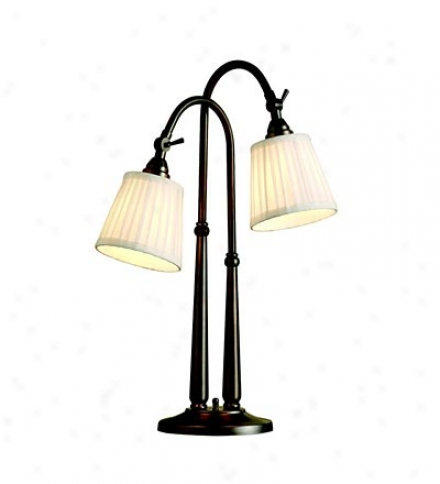 Two-light Floor Lamp With Pleater Shades