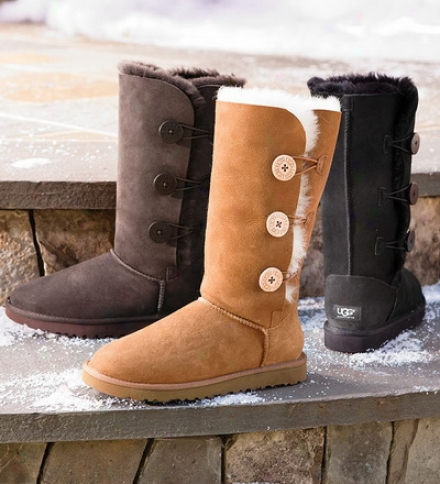 Ugg?? Australia Women&#039 ;s Bailey Button Triplet Boots With Sheepskin Liner