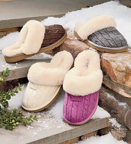 Ugg® Australia Cable Knit Cozy Slippers With Sheepskin Cuffs