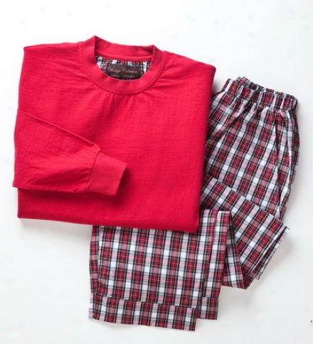 Unisex Cotton-wool Pajama Set With Plaid Poplin Pants And Long-slweve Jersey Knit Top