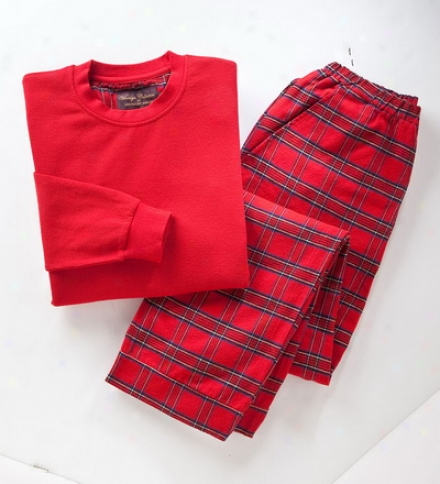 Unisex Cotton-wool Tartan Pajama Set With Plaid Fpannel Pants And Long-sleeve Jersey Knit Top