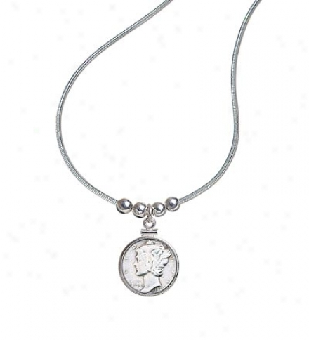 "Us Minted Mercury Dime Pendant With 18"" Sterling Silver Chain"