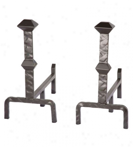 Usa-made Hand-forged Forest Hill Fireplace Andirons