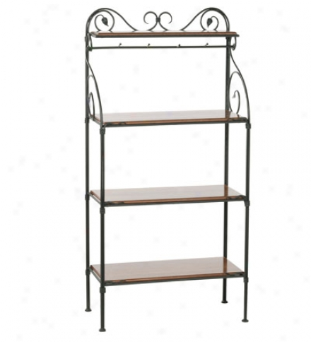 Usa-made Hand-forged Iron 4-tier Leaf Baker's Rack