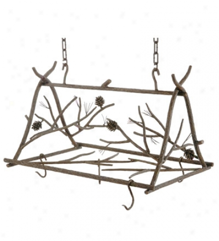 Usa-made Hand-forged Iron 6-hook Pine Pot Rack