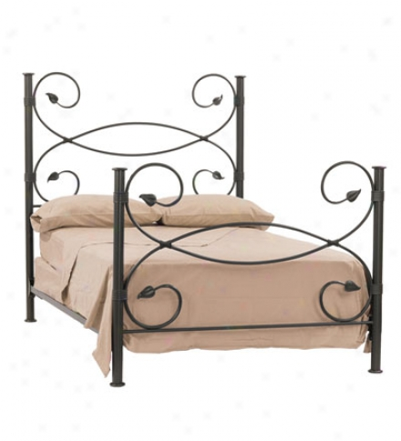 Usa-made Hand-forged Iron Leaf Full Bed Frame
