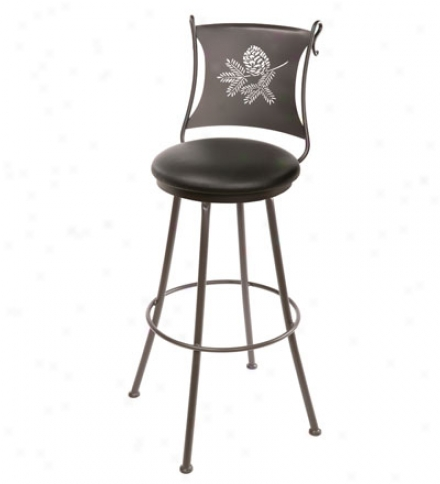 Usa-made Hand-forged Iron Pine Barst0ol With Faux Leather Seat