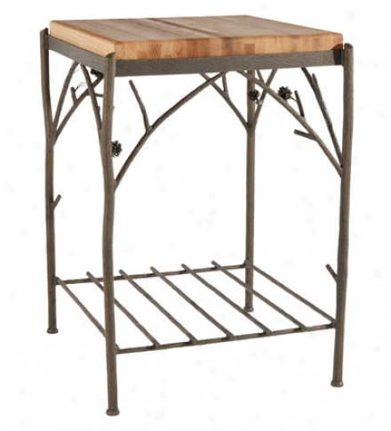 Usa-made Hand-forged Iron Pine Butcher Block Stand